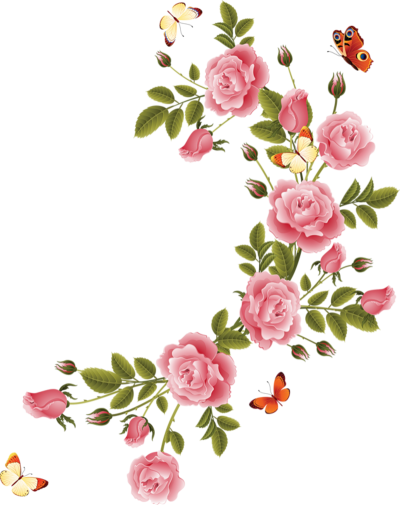 Pink flower border png. Download flowers borders free