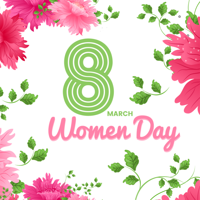 Pink flower border png. Women day and psd