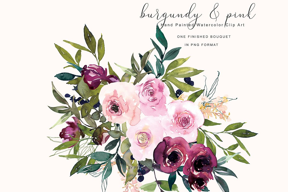 Pink flower. Watercolor burgundy and clipart