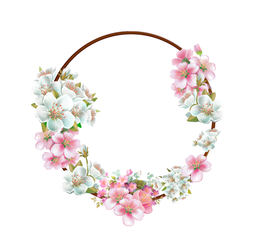 Pink flowers border png. Flower frame by mysticmorning