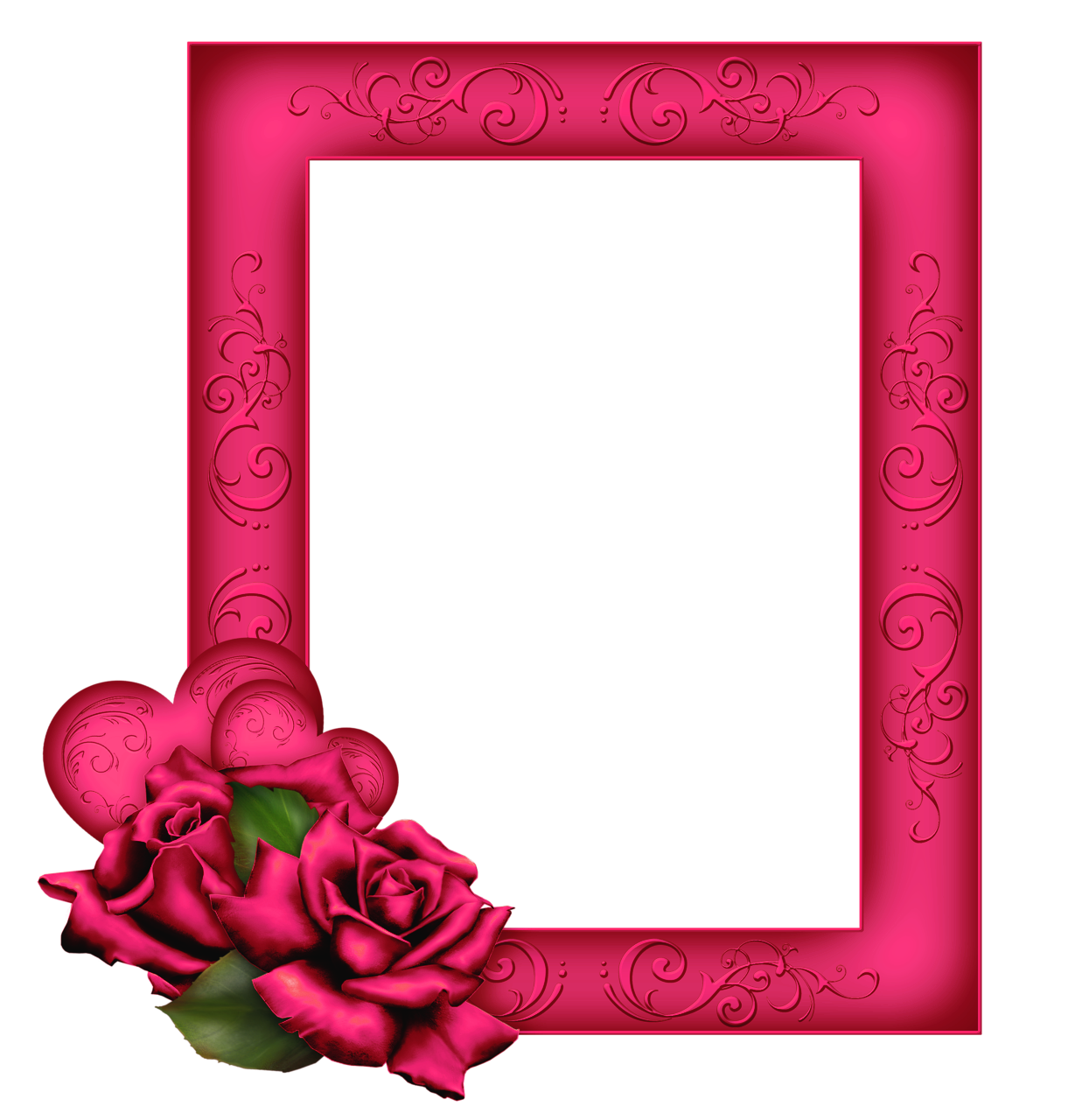 Pink frame png. Beautiful transparent with roses