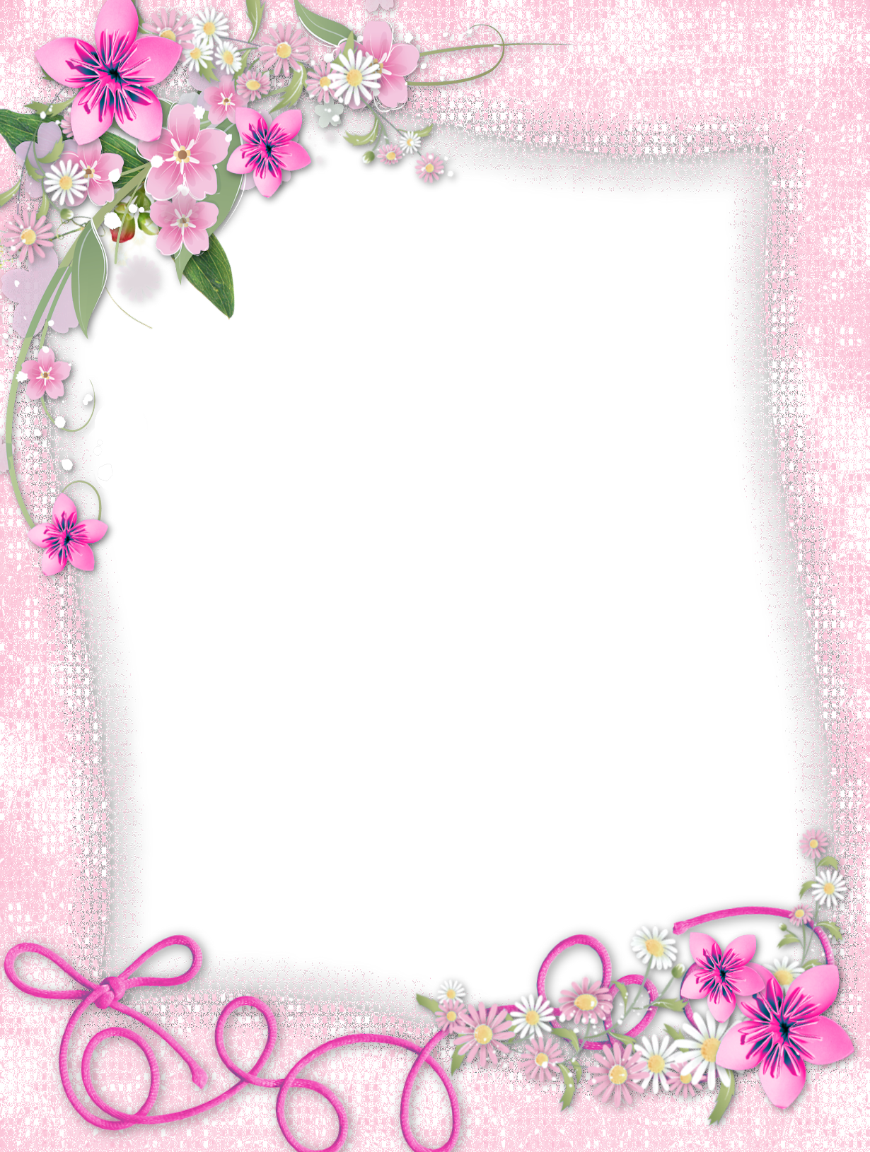 Pink frame png. Transparent with flowers gallery