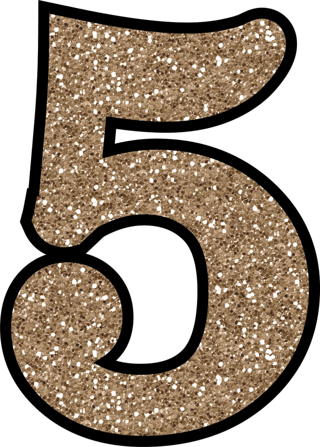 Pink glitter number 5 png. Without the mess free