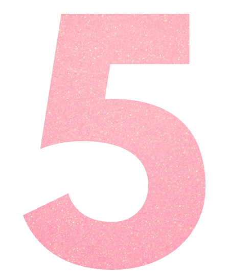 Pink number 5 png. Iron on decal