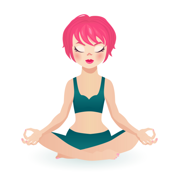 Pink hair fit girl sitting in the lotus pose in yoga clothing. C