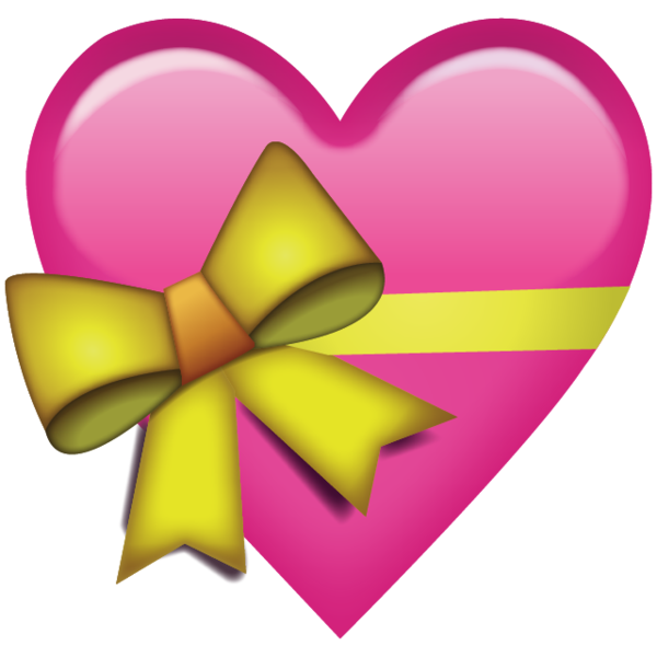 Pink heart emoji png. Download with ribbon icon
