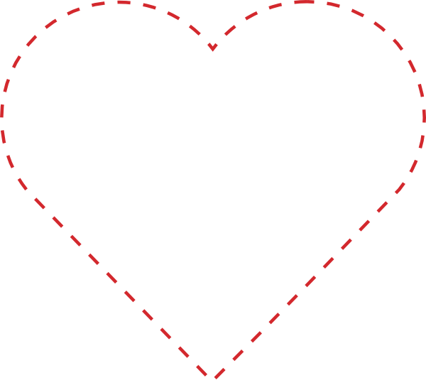 Pink heart outline png. Stitched clip art at
