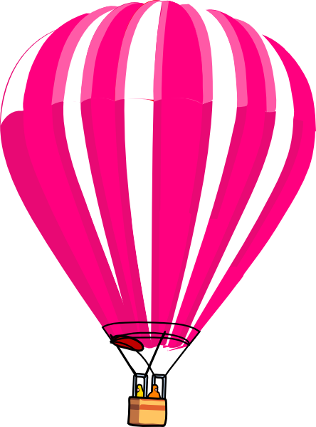 Pink hot air balloon png. And white clip art