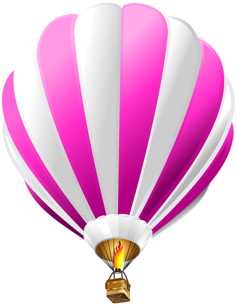 Pink hot air balloon png. Transparent clip art image