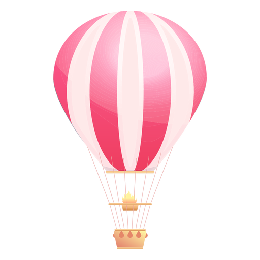 Pink hot air balloon png. Striped transparent svg vector