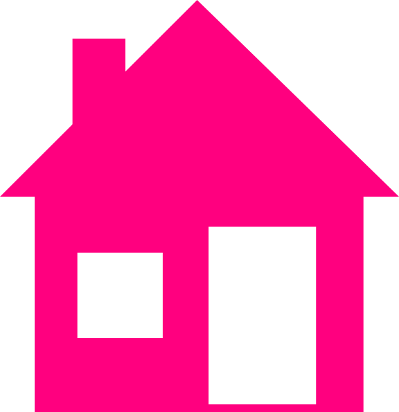 Roofing vector rumah. Pink house clip art