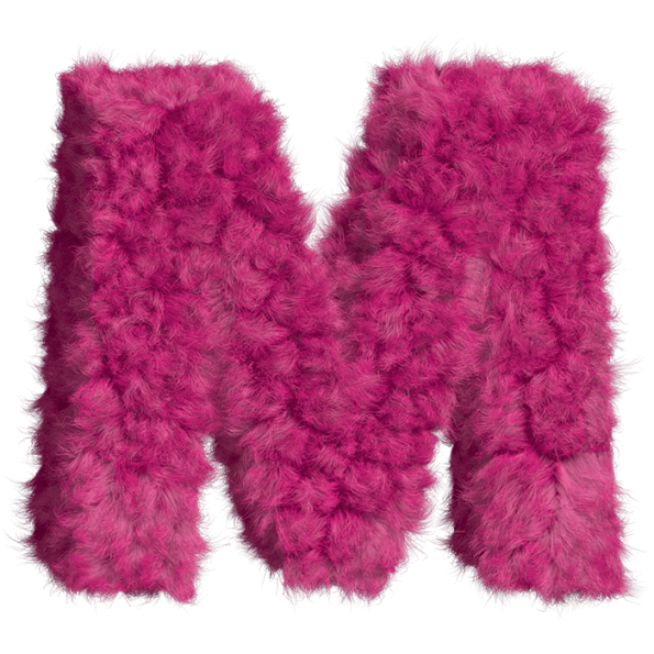 Pink letters png. Buy fur font for