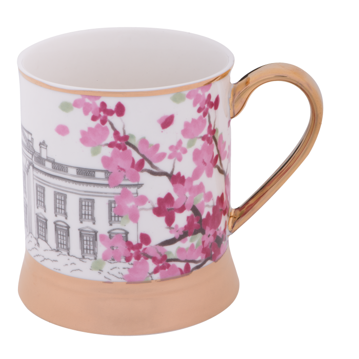 Pink mug png. Cherry blossom with gold
