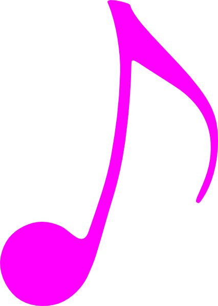 Pink music note clip. Swish vector line clipart library stock