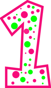 Pink number 1 png. One clipart