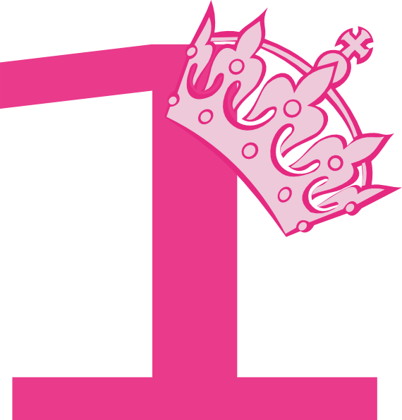 Pink number 1 png. St birthday tiara