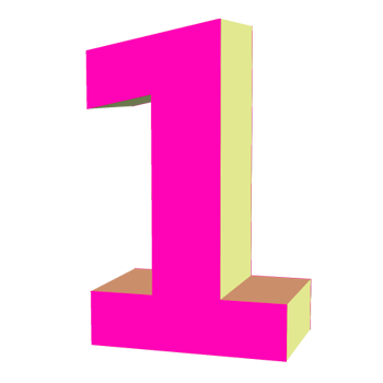 Pink number 1 png. Free download