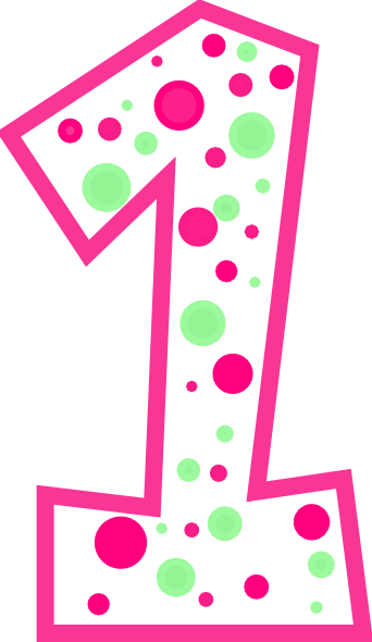 Pink number 1 png. And green polkadot clip