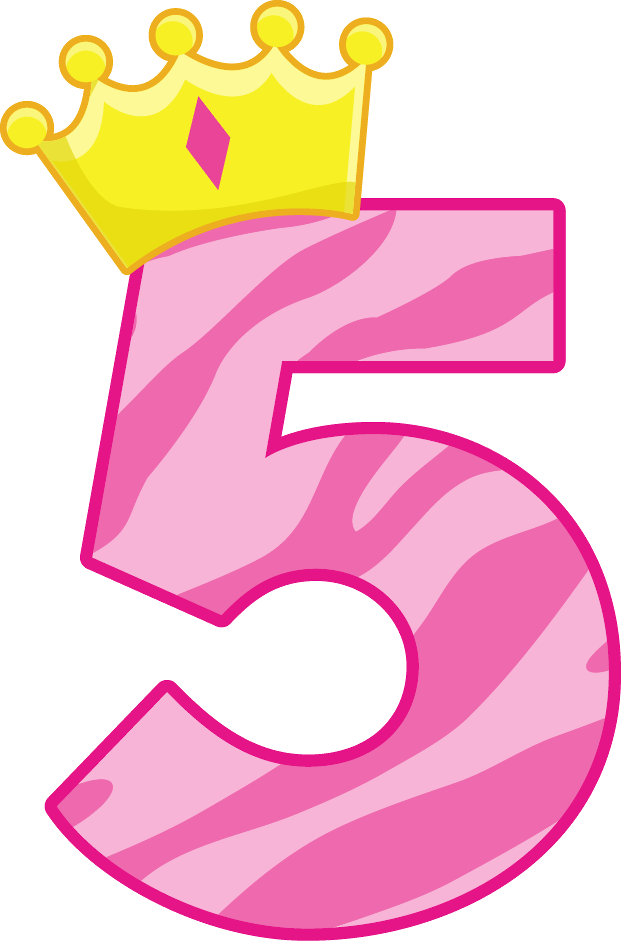 Pink number 5 png. Birthday cake clip art