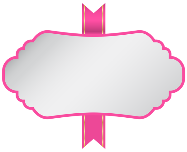 Pink ribbon banner png. White label clip art