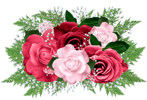 Pink roses bouquet png. And red rose clipart