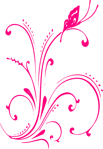 Pink scroll png. Butterfly clip art at