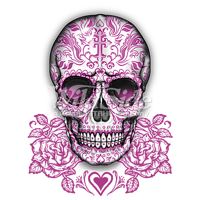 Pink skull png. Roses the wild side