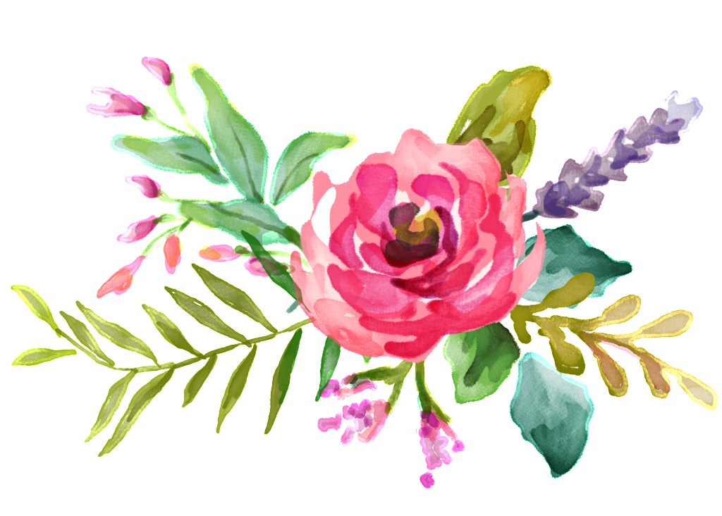 Pink watercolor flower png. Bouquet design background vector