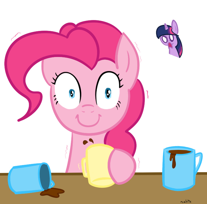 Coffee clip pie. Pinkie discovers my little