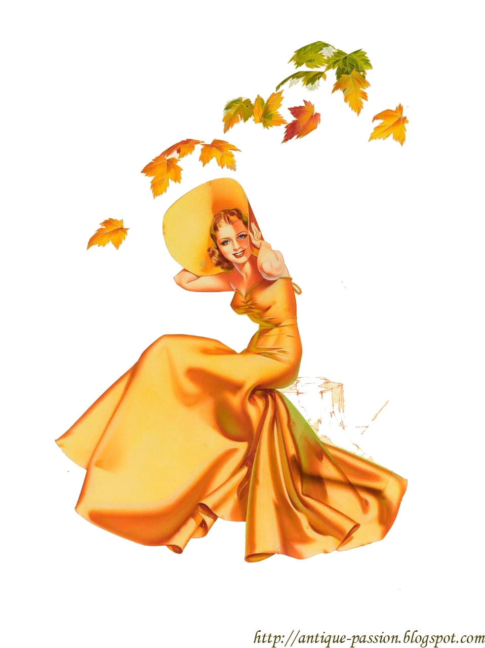 Pinup vector nose art. Autumn vintage pin up
