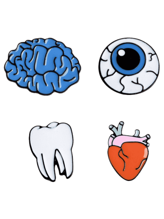 Pins drawing eye. Funny teeth brain brooch
