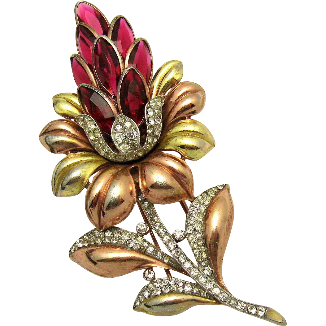 Pins drawing rose gold. Trifari a philippe yellow