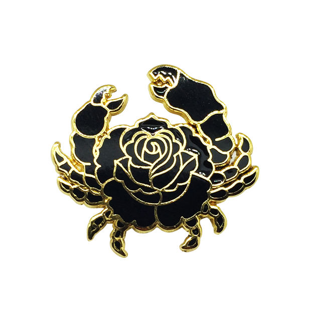 Pins drawing rose gold. Crab pin patches and