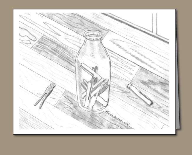 Pins drawing wooden. Clothespin in a bottle
