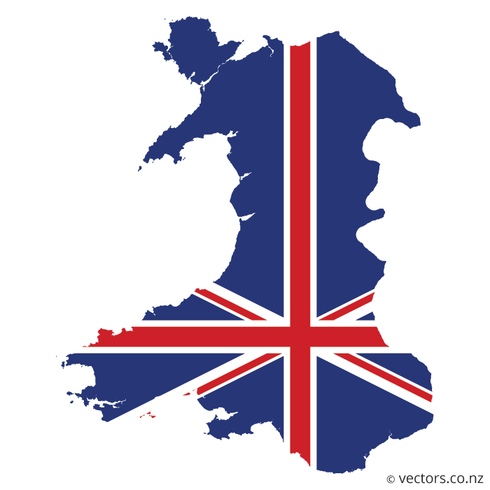 States vector blue. Uk flag map of