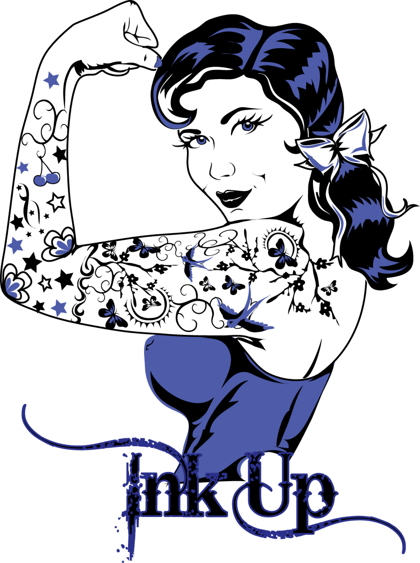 Pinup vector. Retro rockabilly tattoo girl