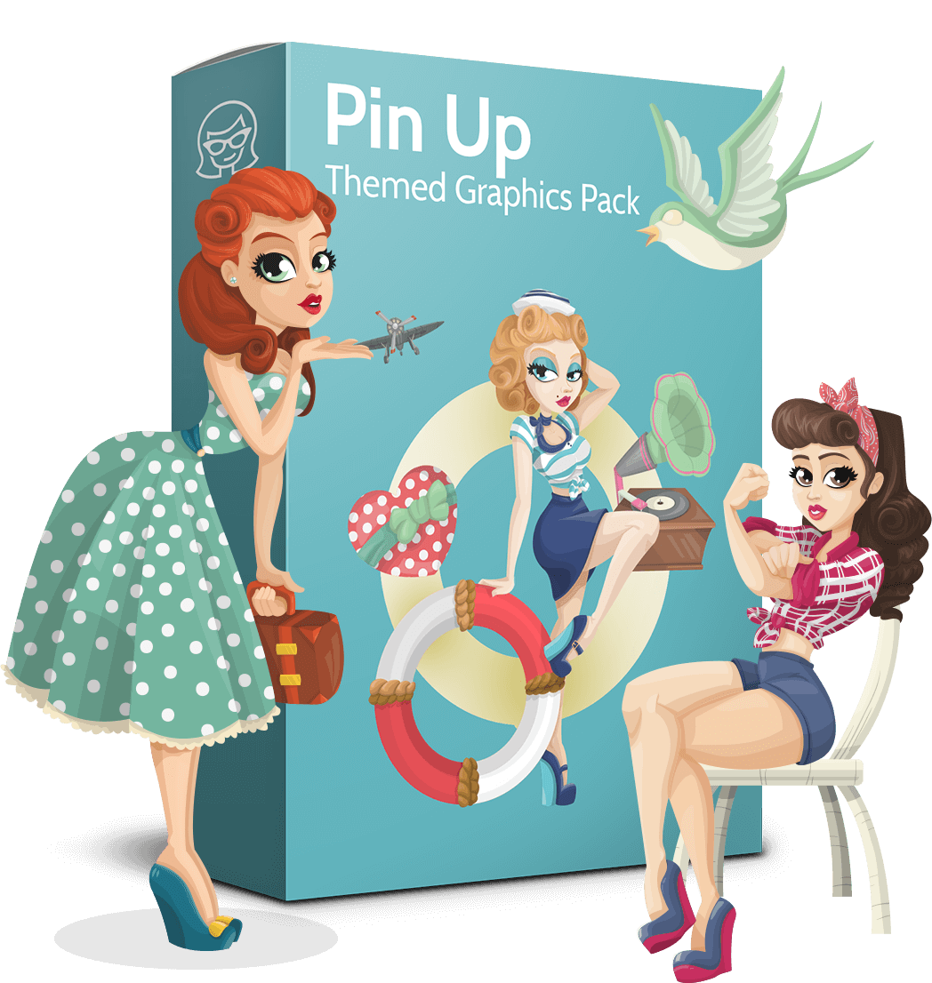 Pinup vector retro. Pin up collection glamour
