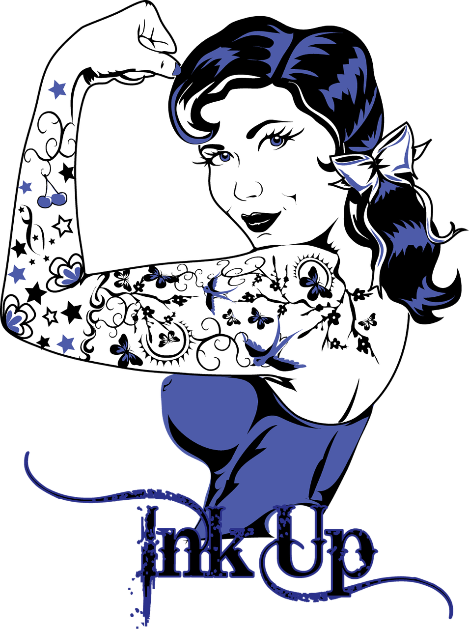 Pinup vector sailor. Tattoo ink tattooing vintage