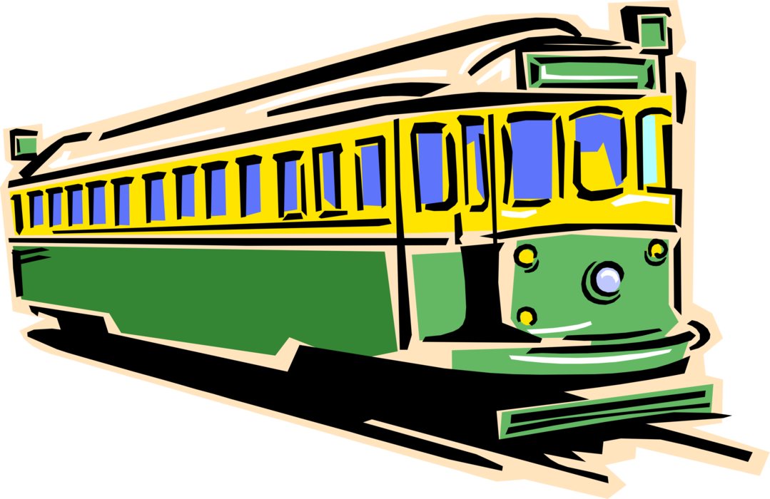 Pinup vector streetcar. Electric tram or trolley