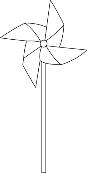 Pinwheel drawing wind wheel. Colorable free clip art
