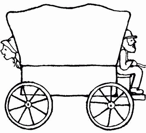 Pioneer clipart people. Wagon coloring page beautiful