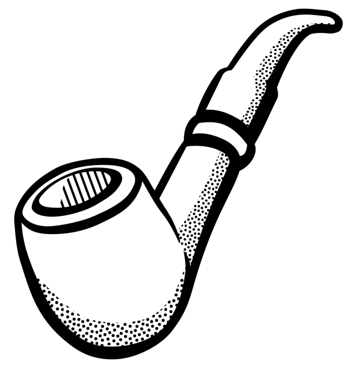 Tobacco clipart. Pipe line art drawing