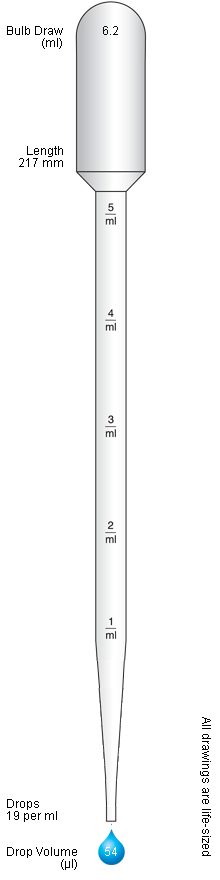 Pipette drawing 0.5 ml. Graduated standard pastettes pasteur