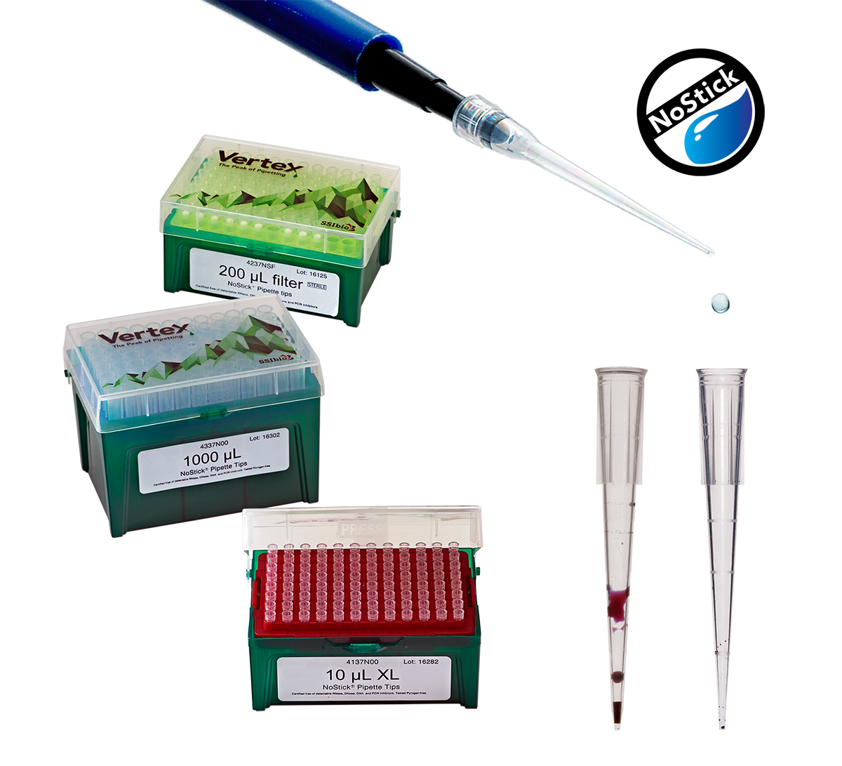 Pipette drawing rack. Nostick low retention tips