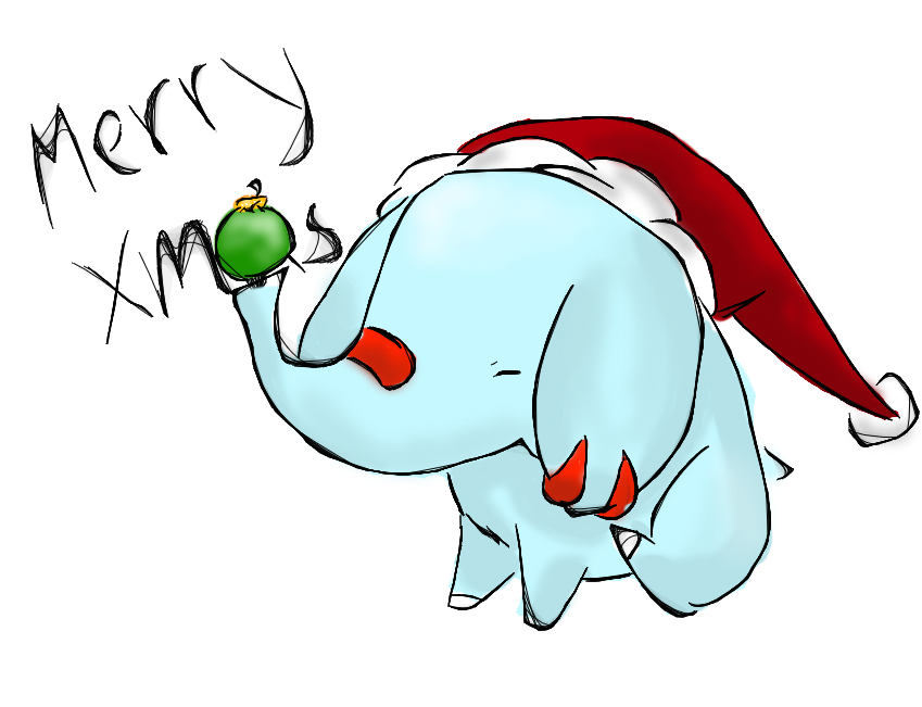 Piplup drawing christmas. Merry from phanpy by