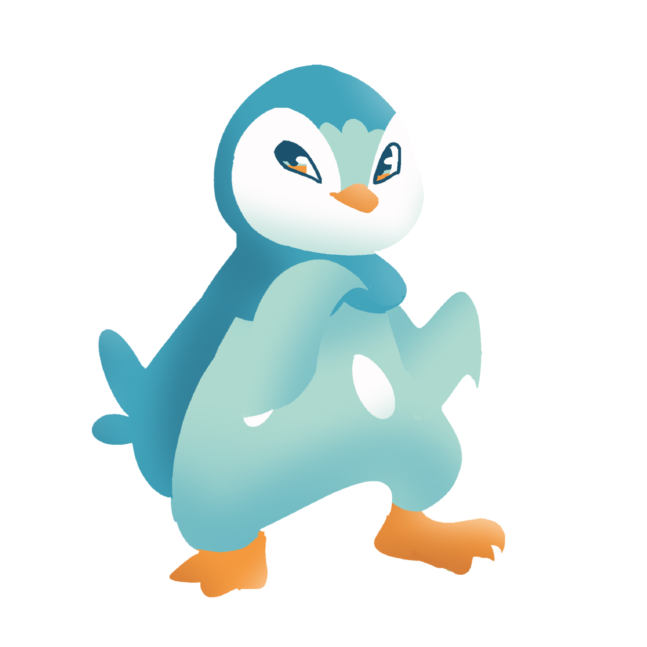 Piplup drawing real life. Swimming with a
