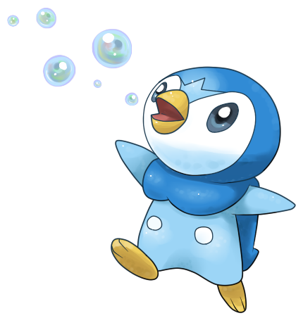 Piplup drawing cute. Used bubble by light