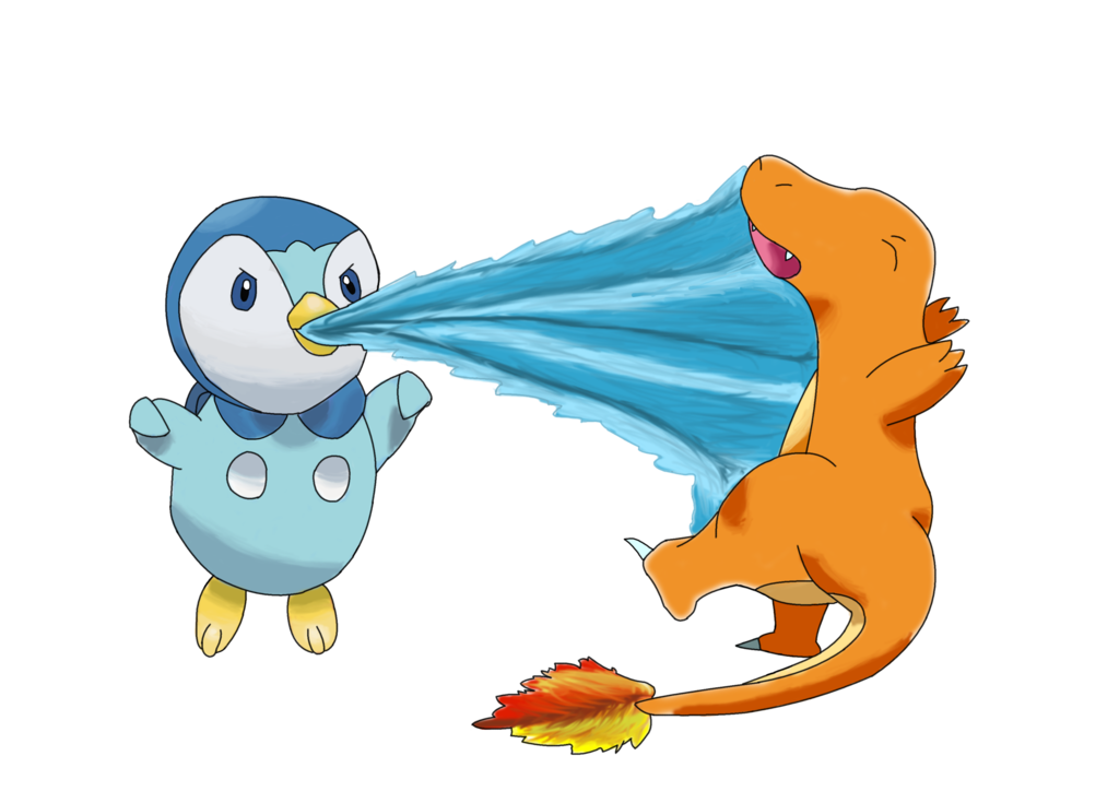 Piplup drawing pencil. Vs charmander by arkdrawings