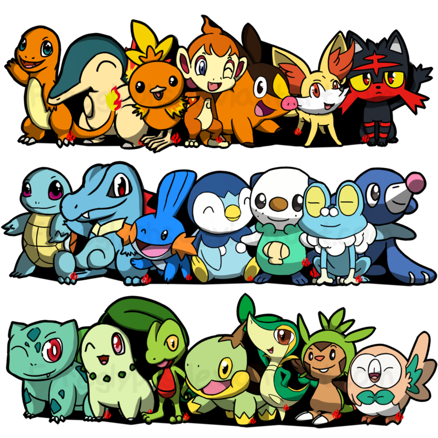 Piplup drawing pokemon starter. Starters by fyreglyphs on