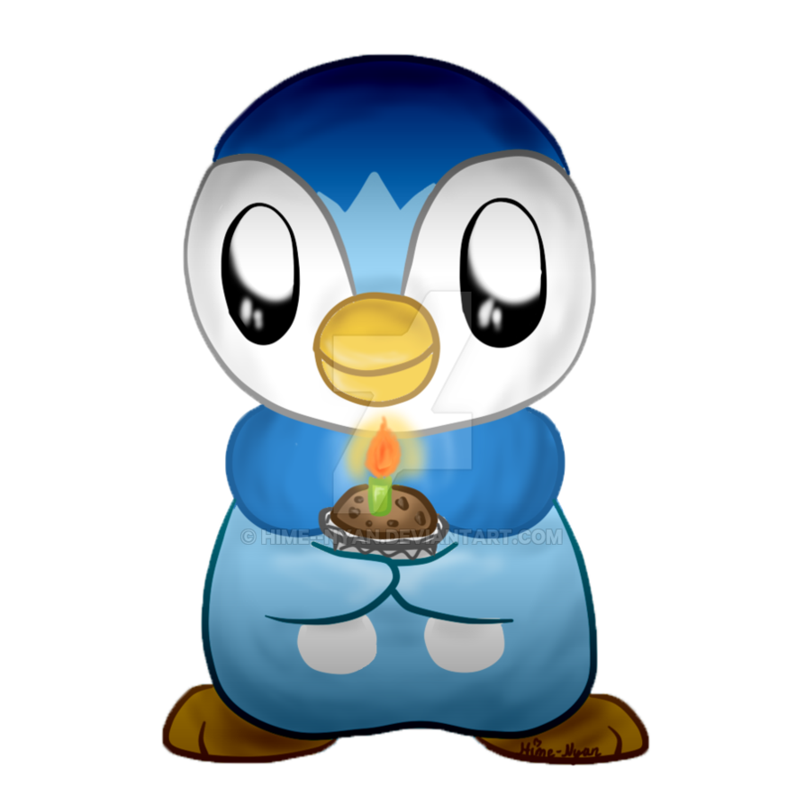 Piplup transparent happy. Says birthday by hime